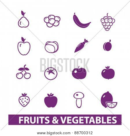 fruits, vegetables icons, signs, illustrations set, vector