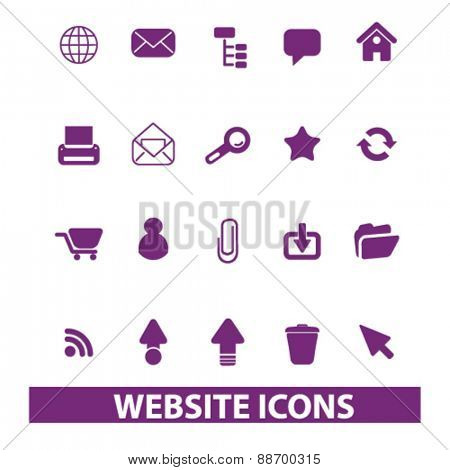 website, internet icons, signs, illustrations set, vector