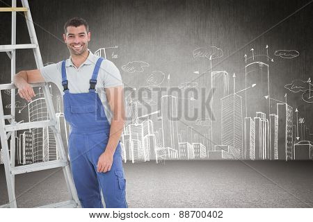 carpenter leaning on ladder against hand drawn city plan