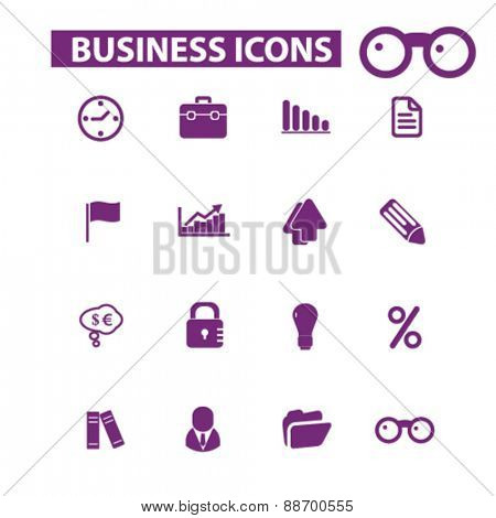 business, icons, signs, illustrations set, vector