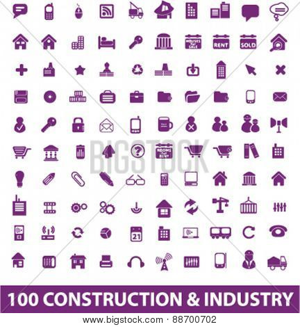 construction, industry, factory icons, signs, illustrations set, vector