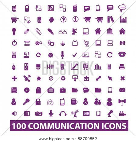100 communication, technology, phone, connection, internet icons, signs, illustrations set, vector