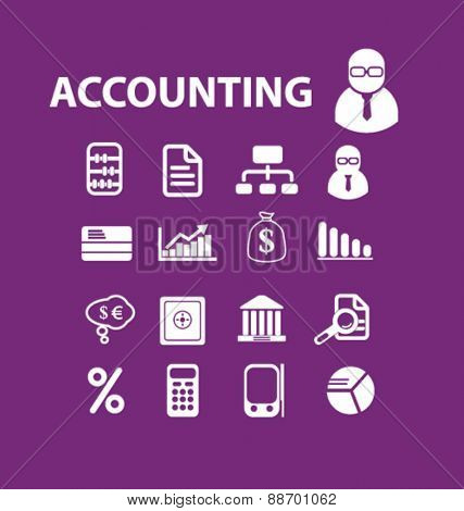 accounting services, finance icons, signs, illustrations set, vector