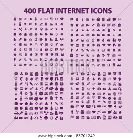 400 flat internet, website, office, work, media, technology, business icons, signs, illustrations set, vector