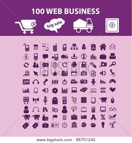 100 web business, management, technology, commerce, retail, store icons, signs, illustrations set, vector