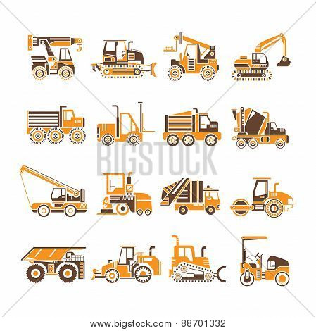 construction equipment icons, truck icons