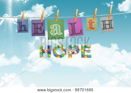 Autism message of hope against digitally generated grey background