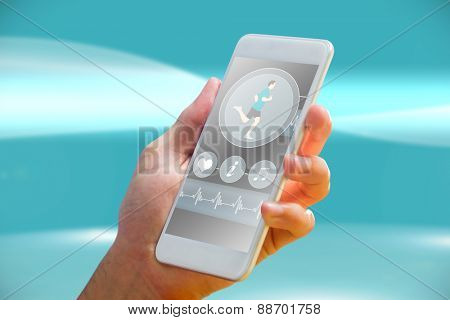 hand holding smartphone against futuristic bright blue background