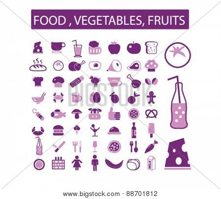 food, vegetables, fruits icons, signs, illustrations set, vector