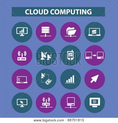 cloud computing, technology, communication icons, signs, illustrations set, vector