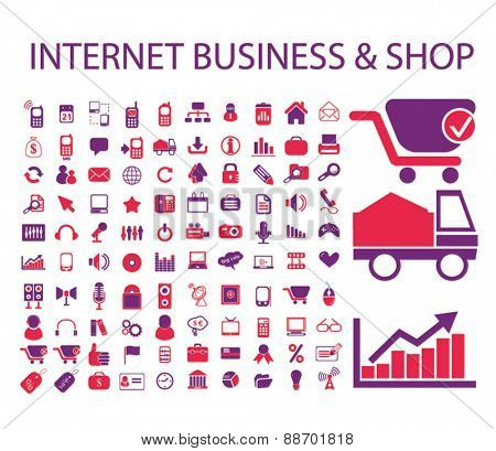 internet business, ecommerce, retail, store icons, signs, illustations set, vector