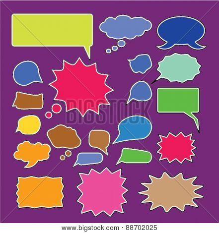 chat, speech, bubbles, comics icons, signs, illustrations set, vector