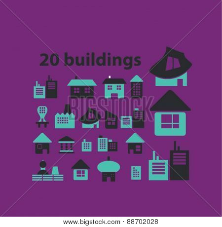 building, house, constuction icons, signs, illustations set, vector for web, mobile application