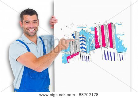 Repairman in overalls pointing at placard against crumpled white page
