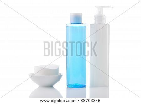 Face Wash Cleansing Gel, Toner And Cotton Cleansing Pads Isolated.