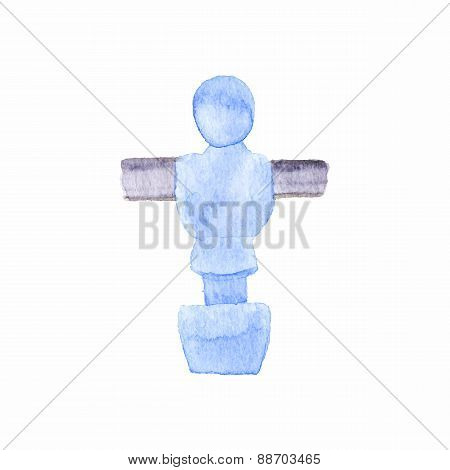 Foosball player. Watercolor object on the white background, aquarelle. Vector illustration.