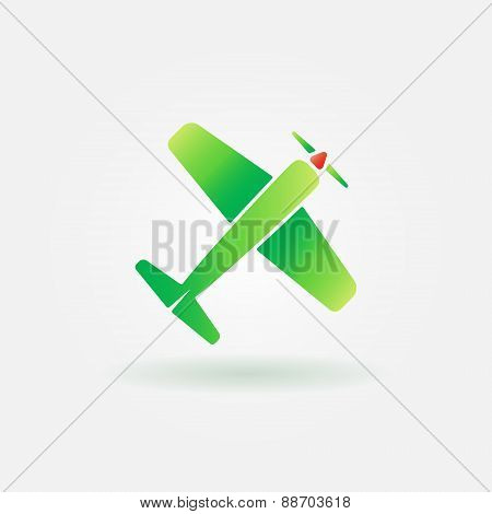 Airplane vector green sign or icon