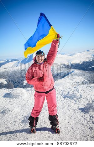 Climber, Top, Flag, Ukraine