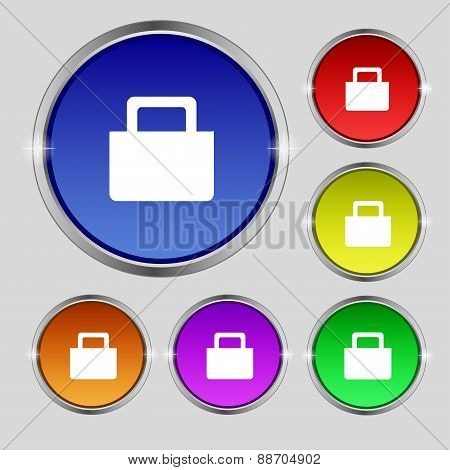 Sale Bag Icon Sign. Round Symbol On Bright Colourful Buttons. Vector
