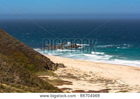The sand beach along Monterey coast, California