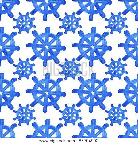Seamless watercolor pattern with helms on the white background, aquarelle.  Vector illustration. Han