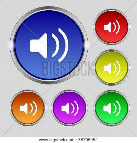 Speaker Volume, Sound Icon Sign. Round Symbol On Bright Colourful Buttons. Vector