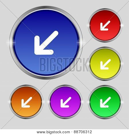 Turn To Full Screenicon Sign. Round Symbol On Bright Colourful Buttons. Vector