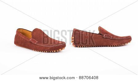 Brown Male Leather Loafers Pair Isolated On White Background