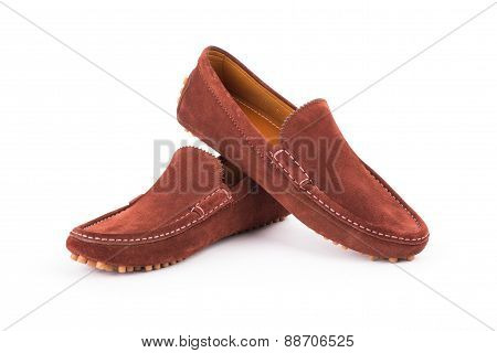 Brown Mens Suede Leather Loafers Pair Isolated On White Background