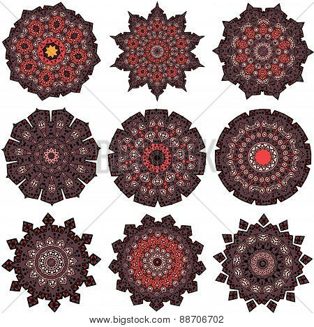 Set of orange-brown mandalas