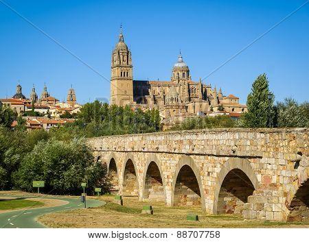 Medieval Cathedral And Bridge, Salamanca, Spain