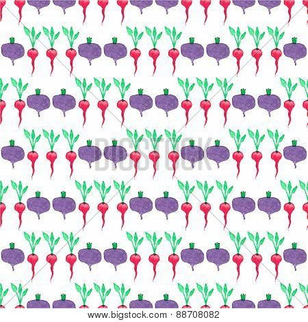 Seamless watercolor pattern with beetroot and radishes on the white background, aquarelle.  Vector i