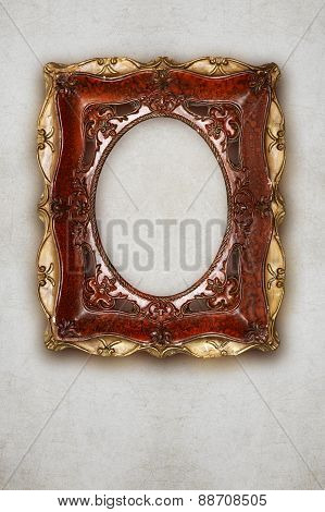 Antique Picture Frame Handmade Ceramics Isolated On Wall Effect Background