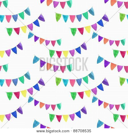 Watercolor seamless pattern with garlands on the white background, aquarelle. Vector illustration.