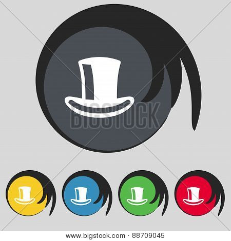 Cylinder Hat Icon Sign. Symbol On Five Colored Buttons. Vector