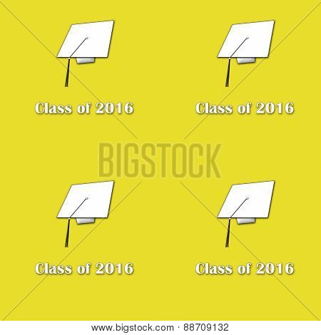 Class of 2016 White on Yellow Lg Pattern