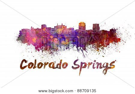 Colorado Springs Skyline In Watercolor