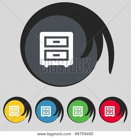 Nightstand Icon Sign. Symbol On Five Colored Buttons. Vector