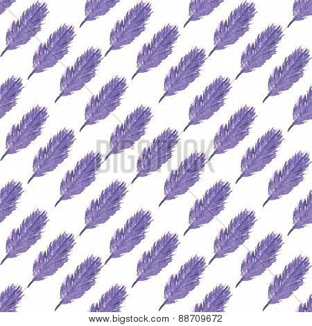 Pattern of ethnic feathers. Ethnic seamless pattern in native style. Violet feathers on white backgr