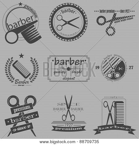 Set Of Vintage Barber Shop Logo, Labels, Badges And Design Element. Vector
