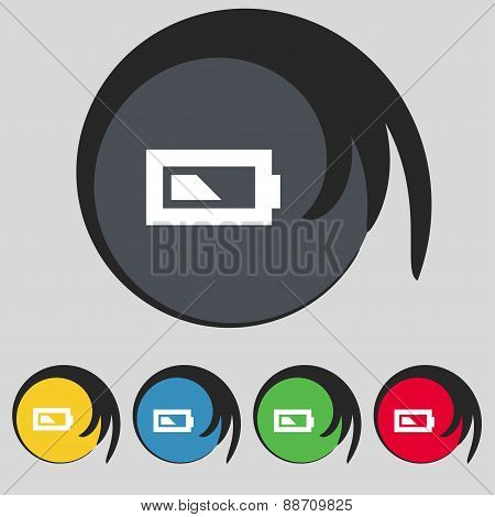 Battery Half Level Icon Sign. Symbol On Five Colored Buttons. Vector