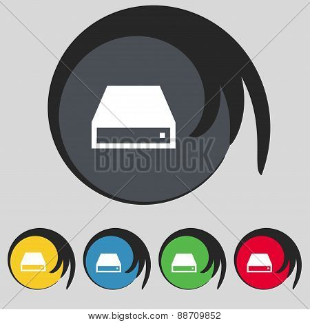 Cd-rom Icon Sign. Symbol On Five Colored Buttons. Vector