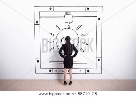 Business Woman Looking 3D Printer