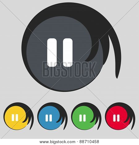 Pause Icon Sign. Symbol On Five Colored Buttons. Vector