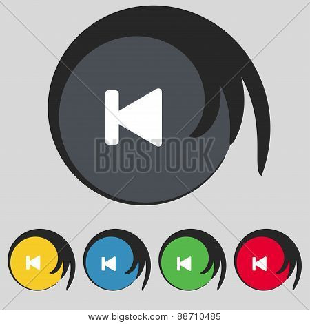 Fast Backward Icon Sign. Symbol On Five Colored Buttons. Vector