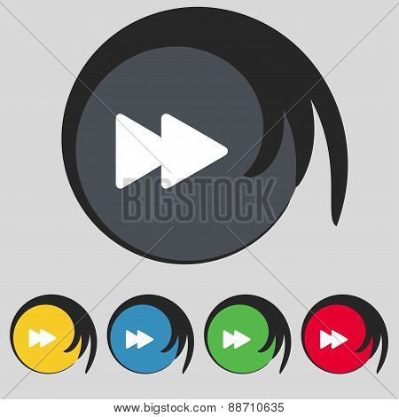 Rewind Icon Sign. Symbol On Five Colored Buttons. Vector