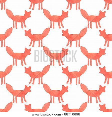 Watercolor seamless pattern with foxes on the white background, aquarelle. Vector illustration.
