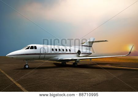 Private Jet Airplane Parking At The Airport.