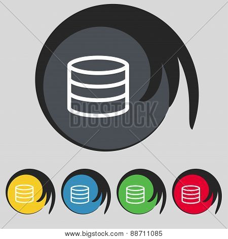 Hard Disk And Database Icon Sign. Symbol On Five Colored Buttons. Vector