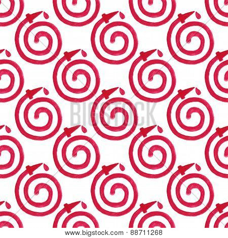 Watercolor seamless pattern with fire hose on the white background, aquarelle pencil.  Vector illust